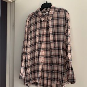 Plaid button down- multi color- black, brown